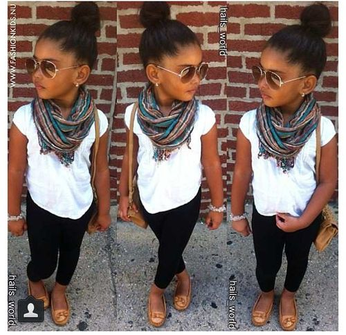 Cute casual kids outfit idea. White t shirt, printed scarf with .