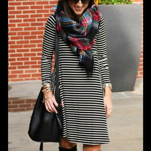 Black and white striped dress with plaid scarf and boots. Pattern .