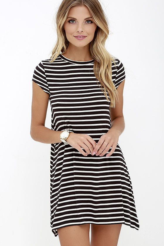 Billabong Last Minute Dress - Black and White Striped Dress .