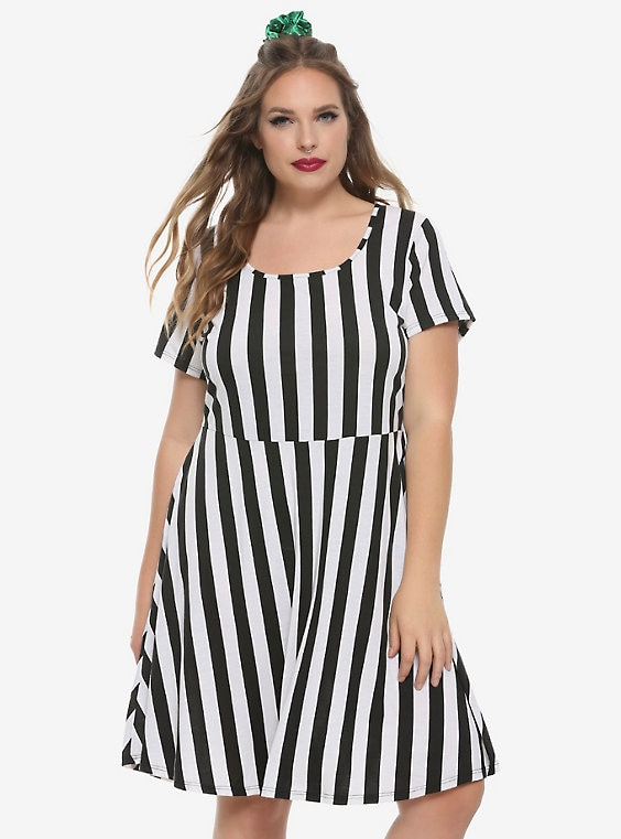 Black & White Striped Skater Dress Plus Si