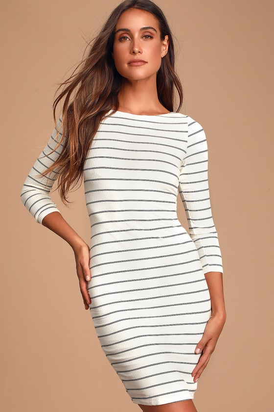 Cute Black and White Dress - Striped Dress -Striped Bodycon Dre