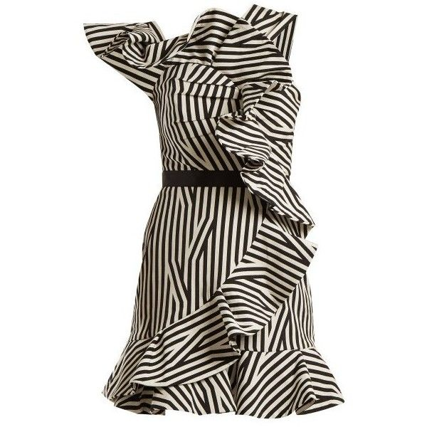 Self-portrait One-shoulder striped dress (£385) ❤ liked on .
