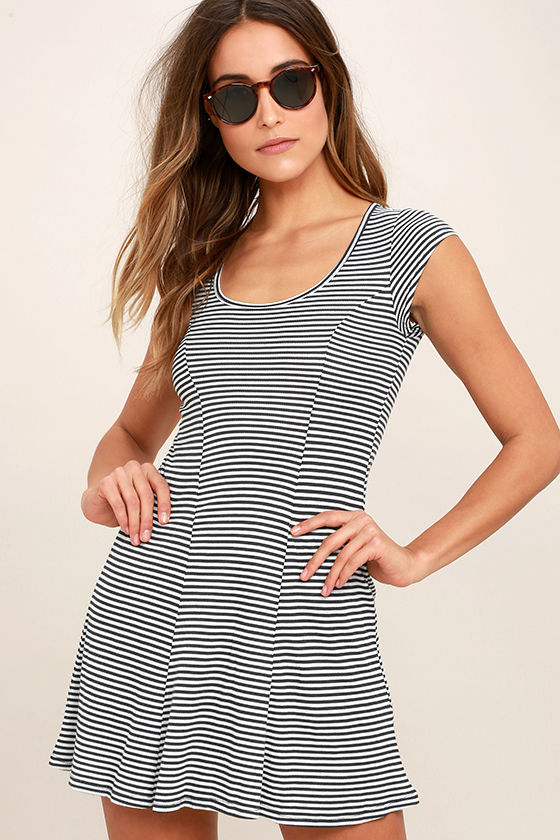 Billabong Same Love - Black and White Striped Dress - Skater Dress .