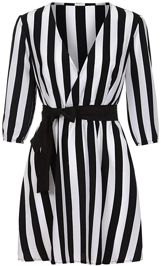 Mose Sexy Stripe Mini Dress Women V Neck Striped Dress Summer .