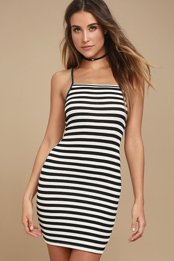 Billabong Dream Song - Black and White Striped Dress - Bodycon .