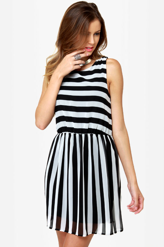 Pretty Black and White Dress - Striped Dress - Sleeveless Dress .