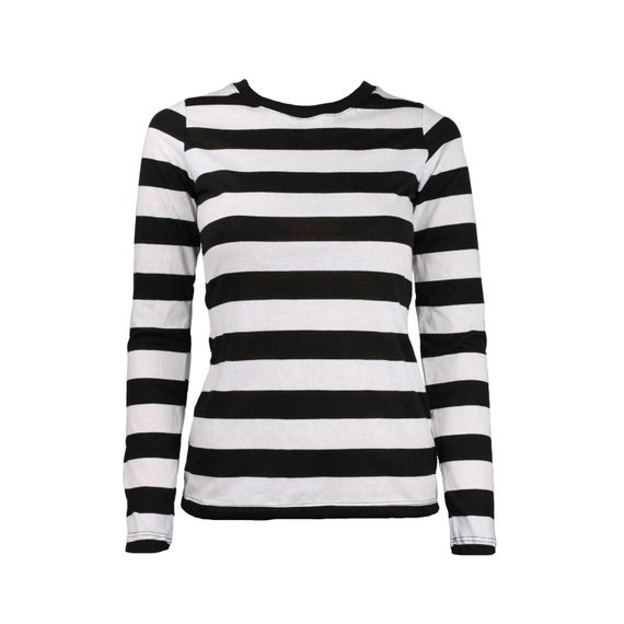 Women's Long Sleeve Black & White Striped Shirt | Et