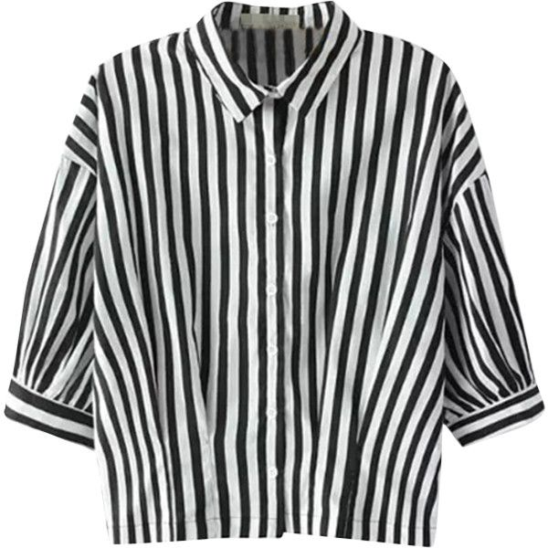 Relaxfeel Women's Black And White Middle Sleeve Collar Striped .