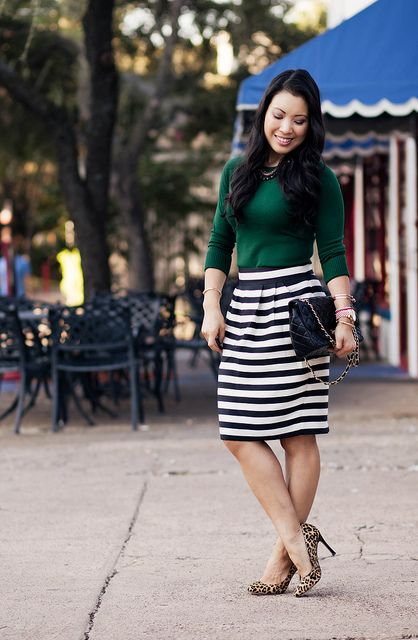 Emerald + Black/White Stripes | Striped skirt outfit, Green top .