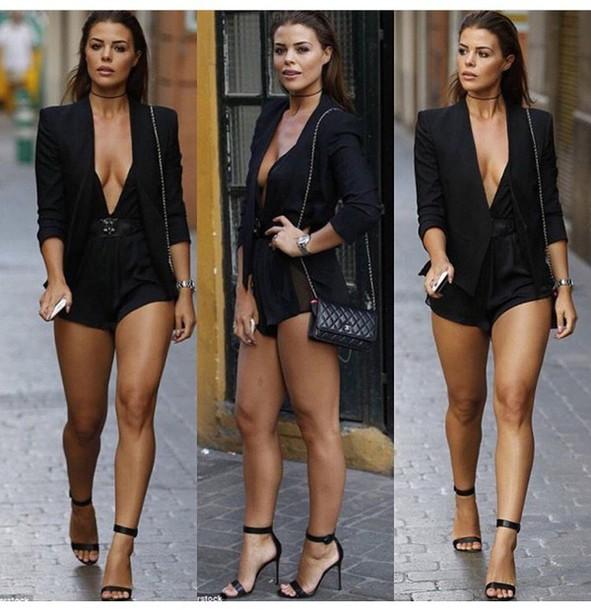 romper, jacket, black jacket, blazer, black blazer, spring jacket .