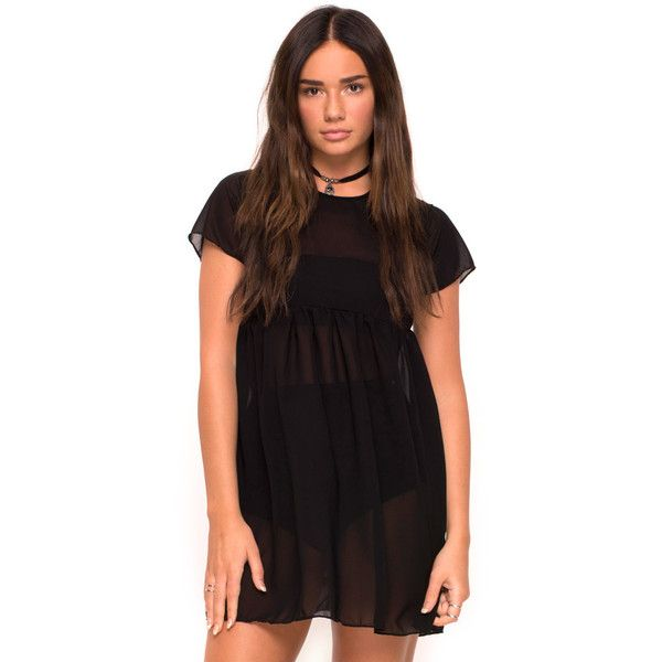 Reece Babydoll Dress in Sheer Black by Motel ($35) ❤ liked on .
