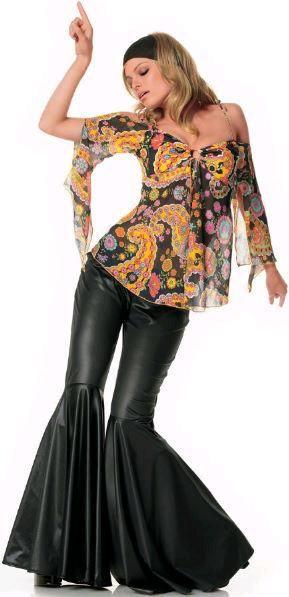FANCY DRESS BELL BOTTOM COSTUMES - BLACK BELL BOTTOMS - VINTAGE .