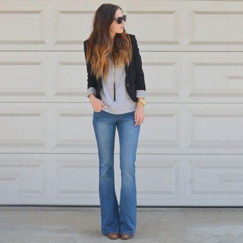 Bell bottoms with black blazers | HappyShap