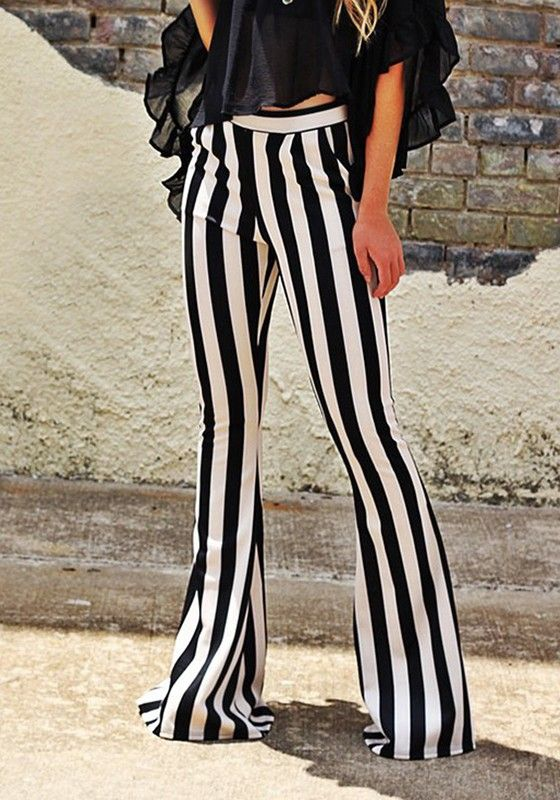 Black-White Striped Casual Mid-rise Long flare Pants in 2019 .