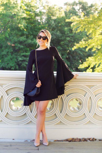 How to Wear Black Bell Sleeve Dress: Top Outfit Ideas - FMag.c