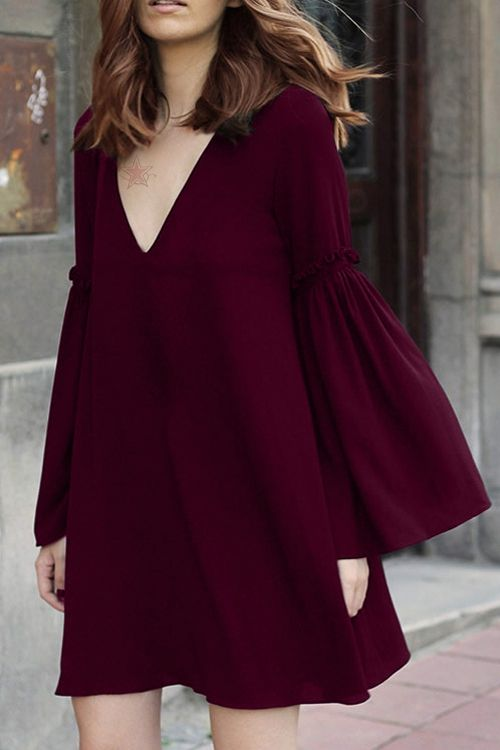 Bell Sleeve Solid Color Flare Dress WINE RED: Long Sleeve Dresses .