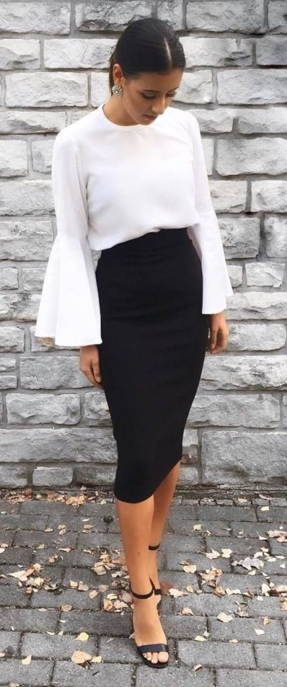 55 Pretty Summer Outfit Ideas for Ladies | Black pencil skirt .