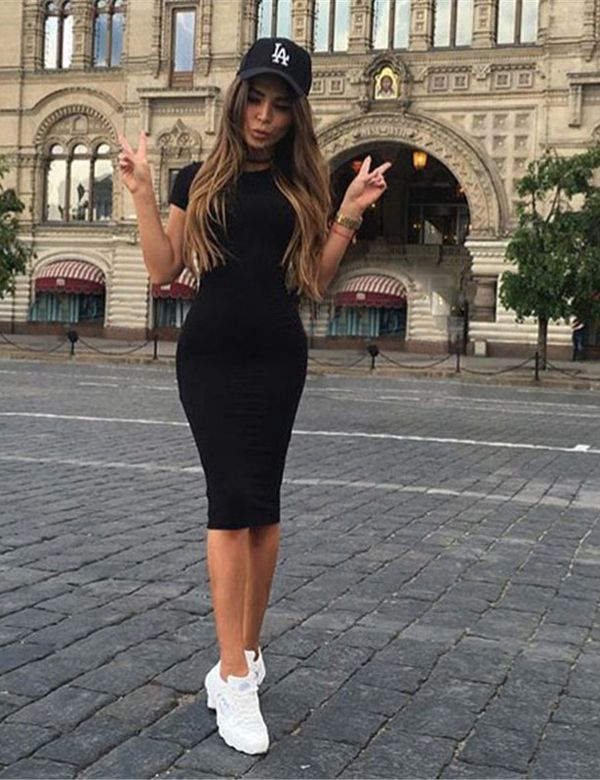 Long Bodycon Short Sleeved Dress | Bodycon outfits, Dress with .