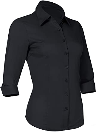 Amazon.com: Button Down Shirts for Women 3 4 Sleeve Fitted Dress .