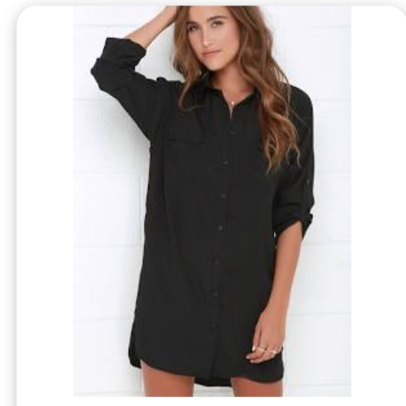 Lucky Brand Dresses | Black Button Down Shirt Dress | Poshma