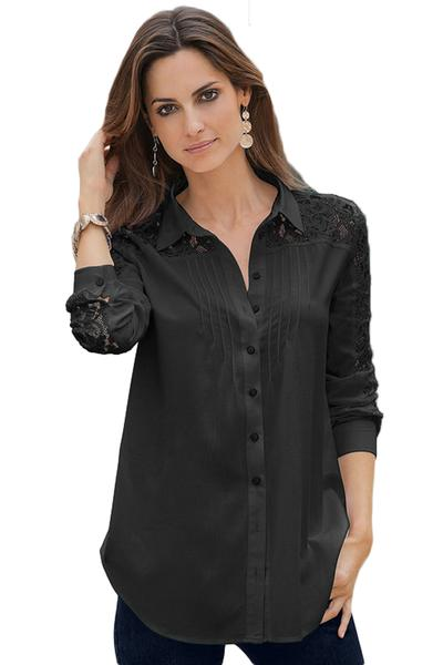 Black Lace Splice Long Sleeve Her Fashion Button Down Shirt .