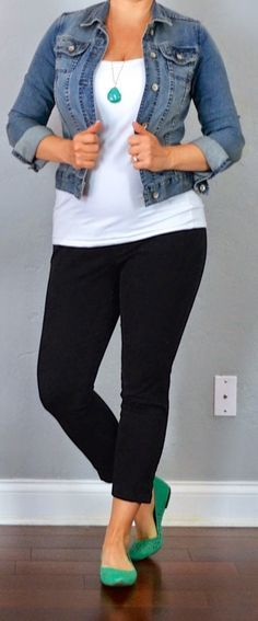 outfit post: jean jacket, white tank, black cropped pants, teal .