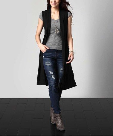 Look what I found on #zulily! Black Sleeveless Pocket Cardigan .