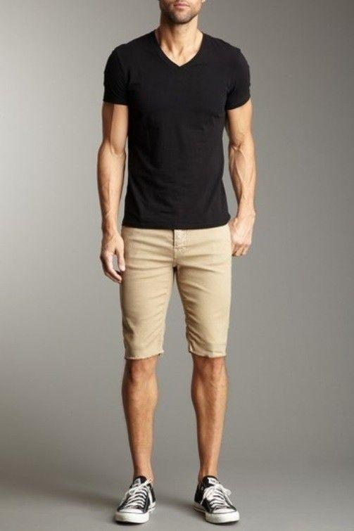 Men's Black V-neck T-shirt, Tan Shorts, Black and White Canvas Low .