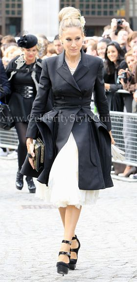 SJP wearing Alexander McQueen Cashmere military tail coat .