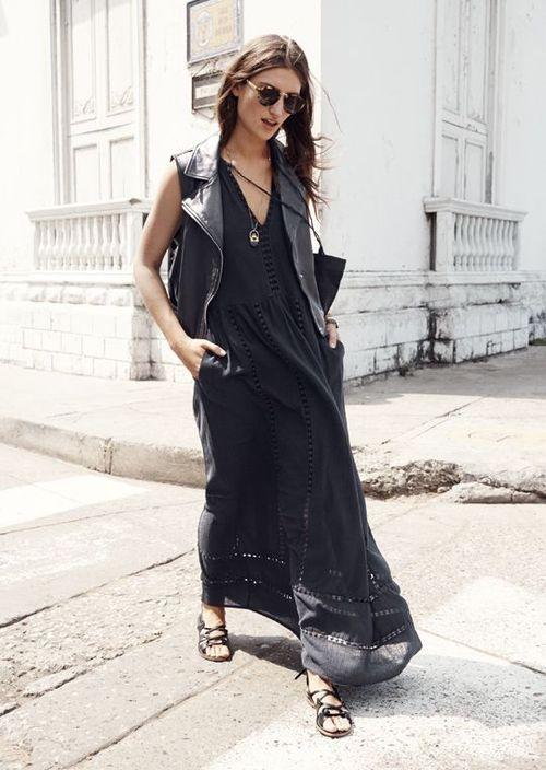 Women's Black Leather Vest, Black Maxi Dress, Black Leather .