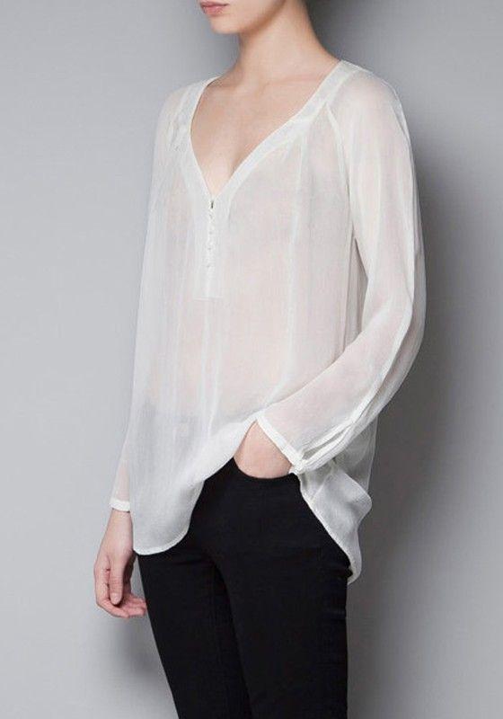 Chiffon blouse, black pants | Chiffon blouse long sleeve, Chiffon .