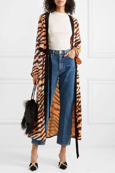 RIXO - Gigi tiger-print sequined chiffon wrap dress | Fashion .