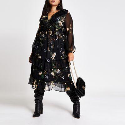 Plus black embellished midi smock dress | Smock dress, Dresses .