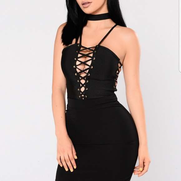 Fashion Nova Dresses | Black Lace Up Choker Dress | Poshma