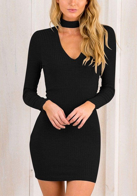 Black Choker-Neck Ribbed Bodycon Dress | This lovely frock is made .