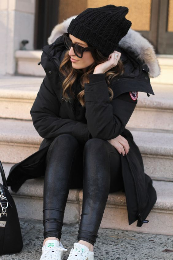 All black winter style | Winter outfits, Winter fashion, Parka outf