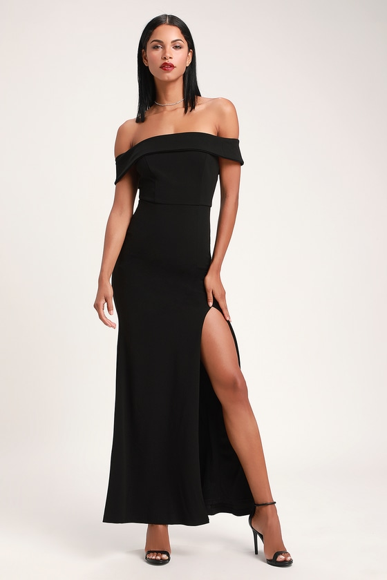 Aveline Black Off-the-Shoulder Maxi Dress in 2020 | Dresses .