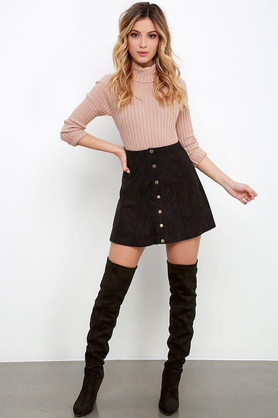 Suede My Day Black Suede Skirtat Lulus.com! | Casual winter .