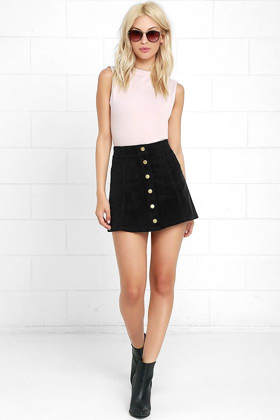 White Crow Austin Black Corduroy Mini Skirt | A line skirt outfits .
