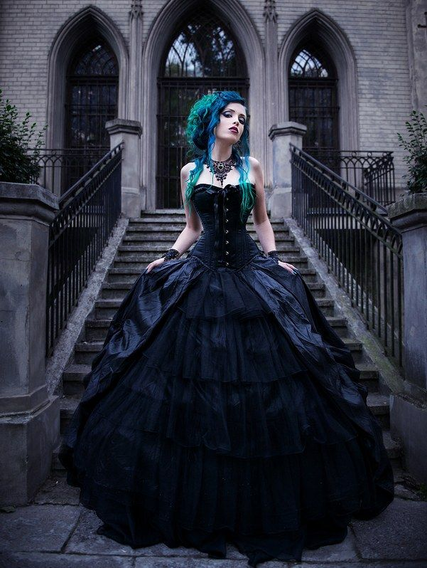 Black Gothic Corset Prom Ball Gowns - Devilnight.co.uk | Black .
