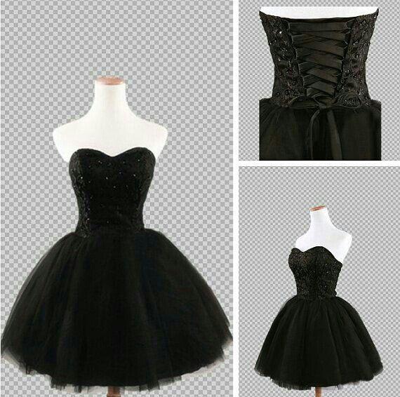 Black corset dress | Homecoming dresses short black, Black .