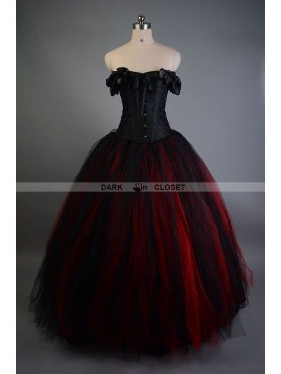 Black and Red Off-the-Shoulder Gothic Victorian Prom Gowns .