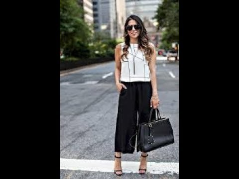 Chic white and black culottes summer outfit ideas - YouTu