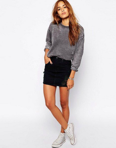 How to Wear Black Denim Skirt: 15 Stylish & Youthful Outfit Ideas .