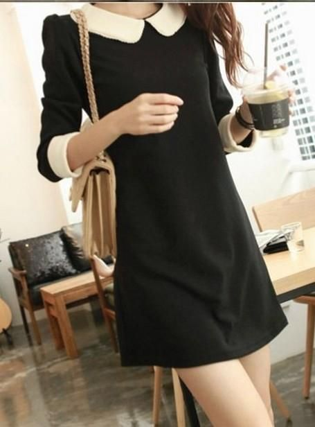 Black Cute Korean Fashionable Dress with White Peter Pan collar .