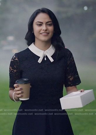 Veronica's navy lace dress with white collar on Riverdale .