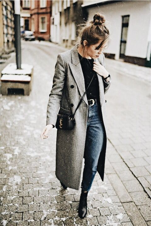 gray overcoat over some jeans. | Fashion, Winter fashion, Autumn .