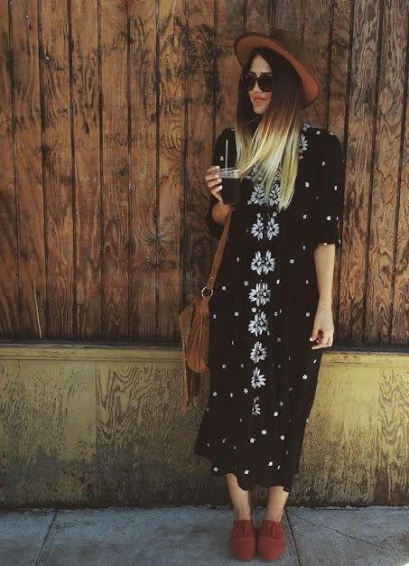 Free People Embroidered 'Fable' Midi Black Dress | Boho fashion .