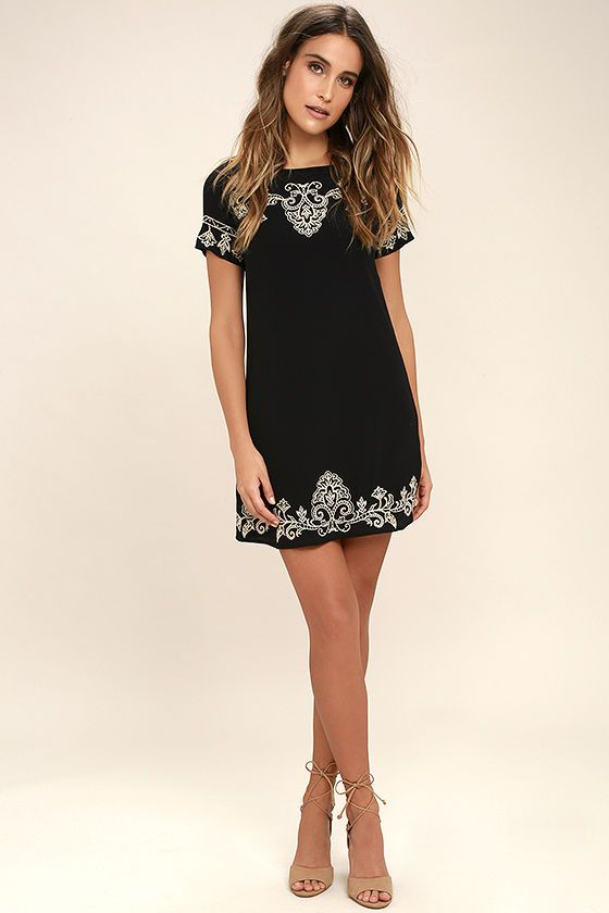 Tale to Tell Beige and Black Embroidered Shift Dress | Casual .