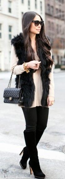 33 Best Black fur vest images | Black fur vest, Autumn fashion .